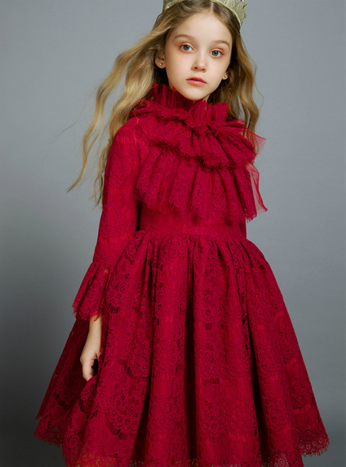 In Stock:Ship in 48 Hours Red Lace Long Sleeve Flower Girl Dress 2020
