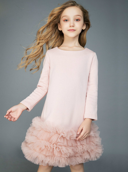In Stock:Ship in 48 Hours Pink Long Sleeve Tulle Flower Girl Dress 2020
