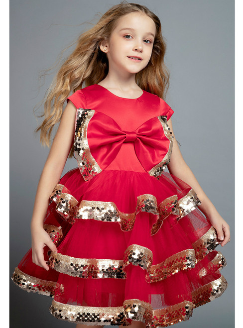 In Stock:Ship in 48 Hours Red Tulle Sequins Flower Girl Dress 2020