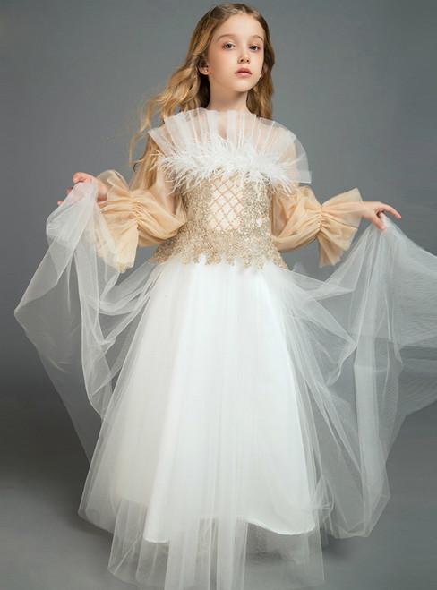 In Stock:Ship in 48 Hours White Tulle Puff Sleeve Beading Flower Girl Dress 2020
