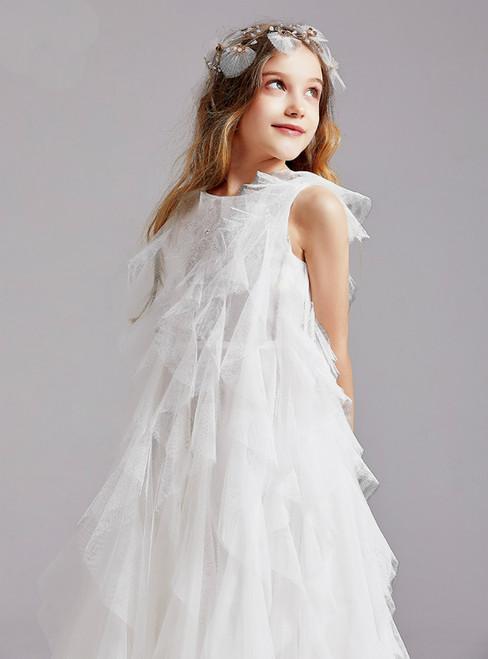 In Stock:Ship in 48 Hours White Tulle Sleeveless Flower Girl Dress 2020