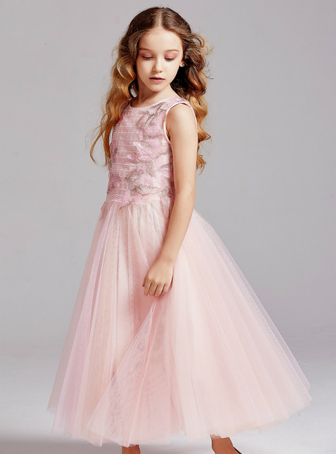 In Stock:Ship in 48 Hours Pink Tulle Embroidery Flower Girl Dress 2020