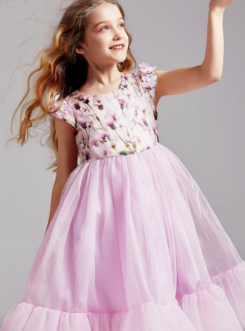 In Stock:Ship in 48 Hours Purple Tulle Print Cap Sleeve Flower Girl Dress 2020