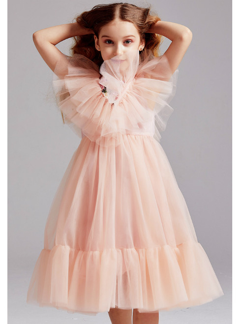In Stock:Ship in 48 Hours Pink Tulle Embrodiery Beading Flower Girl Dress 2020
