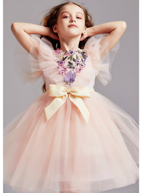 In Stock:Ship in 48 Hours Pink Tulle Beading Embroidery Flower Girl Dress 2020