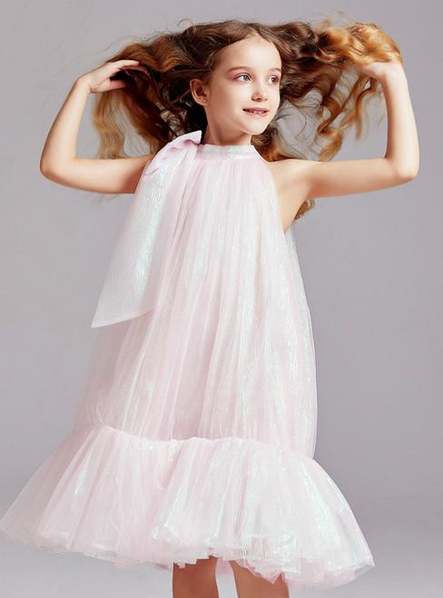 In Stock:Ship in 48 Hours Pink Tulle Halter Flower Girl Dress 2020