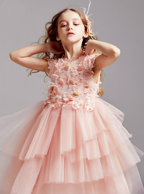 In Stock:Ship in 48 Hours Pink Tulle Appliques Feather Flower Girl Dress 2020