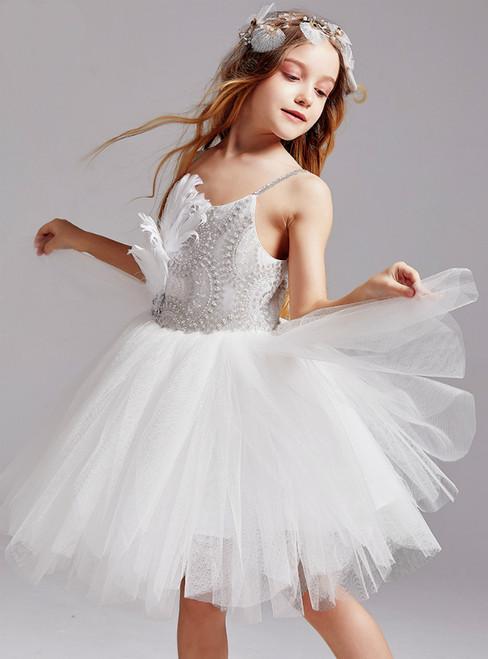 In Stock:Ship in 48 Hours White Tulle Spagehtti Straps Beading Flower Girl Dress 2020