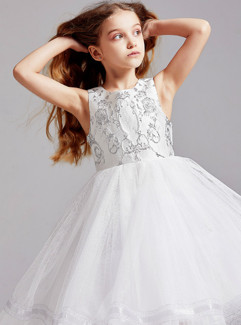 In Stock:Ship in 48 White Tulle Embroidery Flower Girl Dress 2020