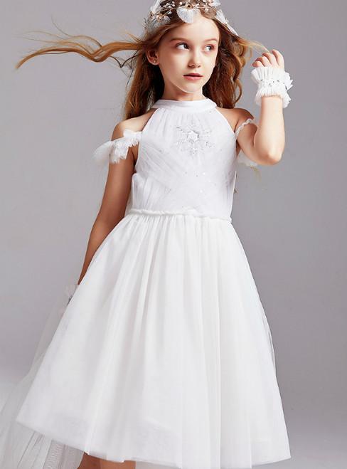 In Stock:Ship in 48 Hours White Tulle Knee Length Flower Girl Dress 2020