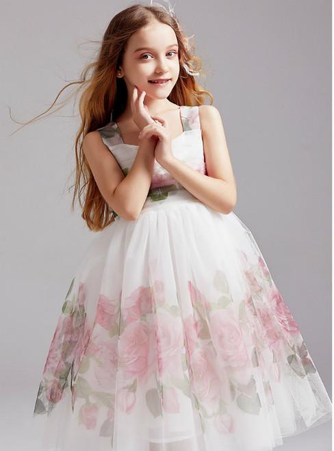 In Stock:Ship in 48 Hours White Tulle Print Flower Girl Dress 2020