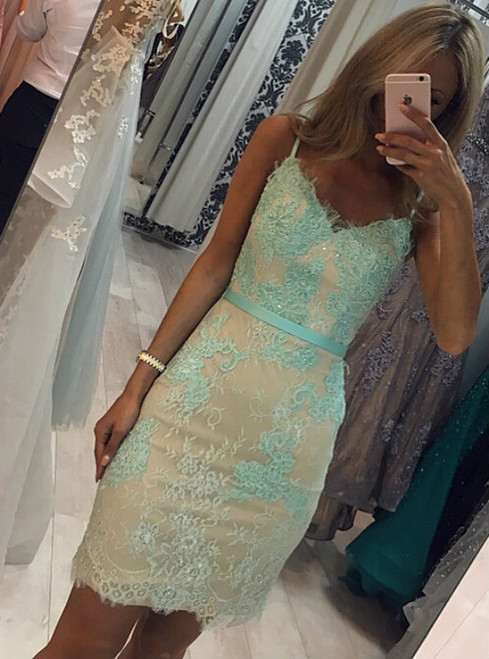 Backless Sheath Lace Cocktail Dresses Mint Green Short Prom Gowns 2017
