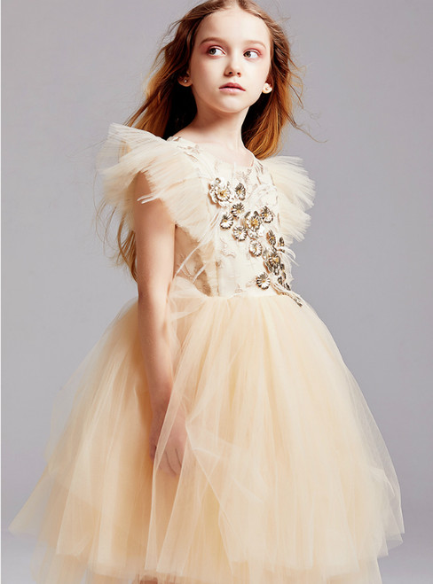 In Stock:Ship in 48 Hours Gold Tulle Beading Flower Girl Dress 2020