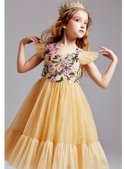 In Stock:Ship in 48 Hours Gold Tulle Embroidery Beading Flower Girl Dress 2020
