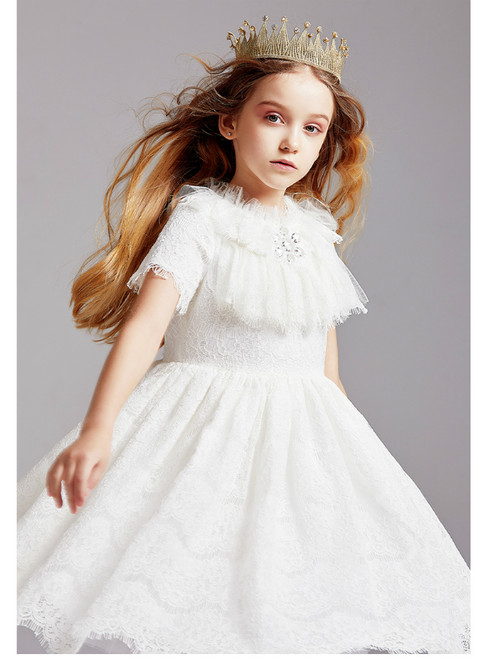In Stock:Ship in 48 Hours White Lace Short Sleeve Flower Girl Dress 2020