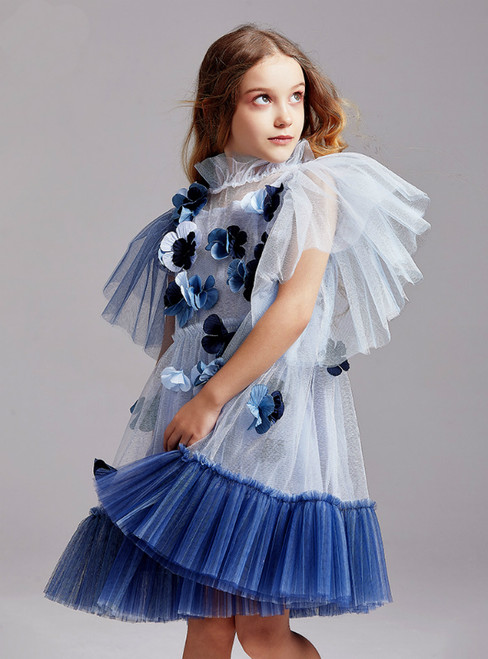 In Stock:Ship in 48 Hours Blue Tulle 3D Appliques Flower Girl Dress