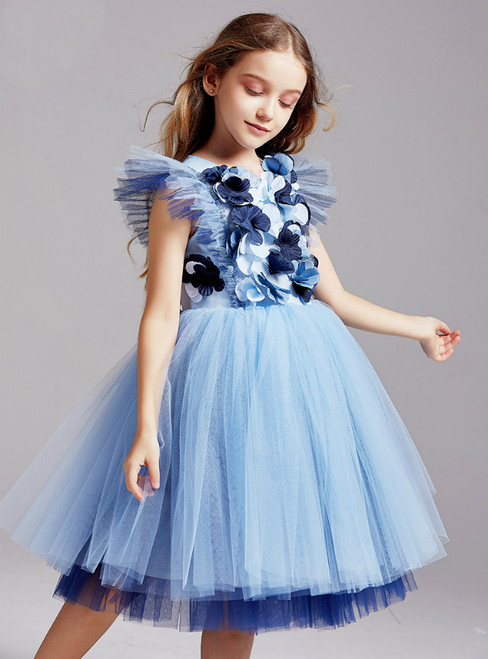 In Stock:Ship in 48 Hours Princess Blue Tulle 3D Appliques Flower Girl Dress 2020