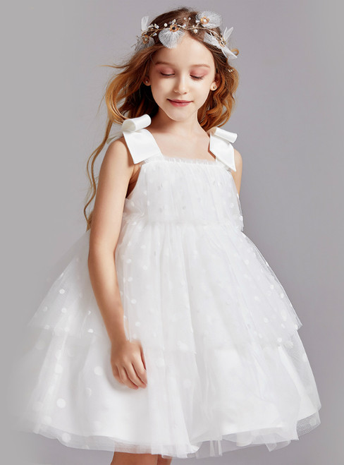 In Stock:Ship in 48 Hours White Tulle Wave Point Flower Girl Dress 2020