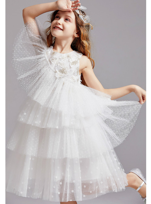 In Stock:Ship in 48 Hours White Tulle Butterfly Appliques Flower Girl Dress 2020
