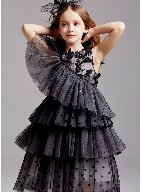 In Stock:Ship in 48 Hours Black Tulle Butterfly Appliques Flower Girl Dress 2020