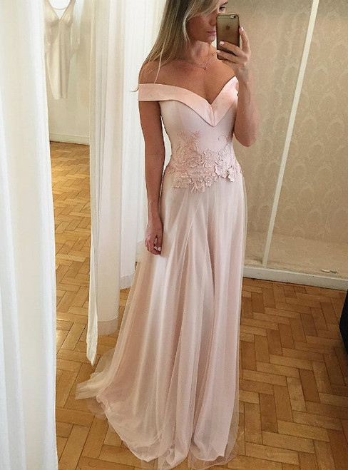 Off Shoulder Long Prom Dresses with Waist Lace Appliques 2017