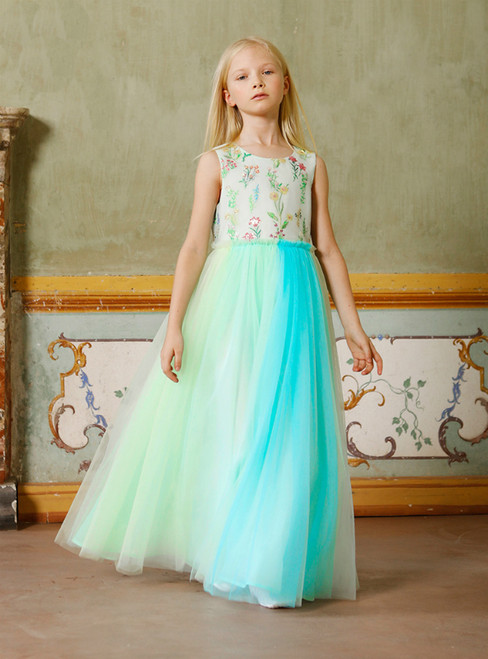 In Stock:Ship in 48 Hours A-Line Green Tulle Embroidery Sequins Flower Girl Dress 2020