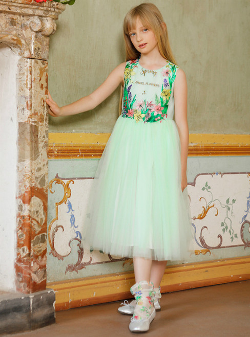 In Stock:Ship in 48 Hours Green Tulle Embroidery Tea Length Flower Girl Dress