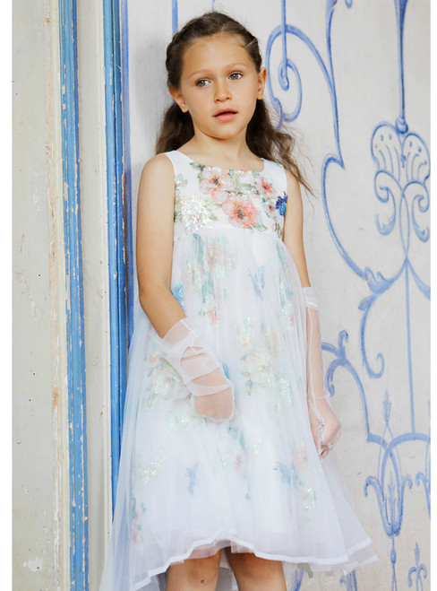 In Stock:Ship in 48 Hours White Tulle Embroidery Sequins Flower Girl Dress