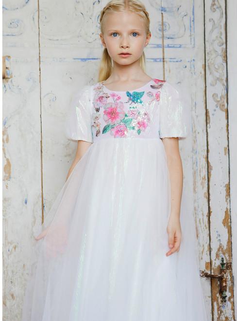 In Stock:Ship in 48 Hours White Tulle Short Sleeve Sequins Flower Girl Dress 2020