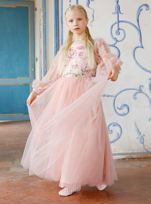In Stock:Ship in 48 Hours Pink Tulle Long Sleeve Embroidery Flower Girl Dress 2020