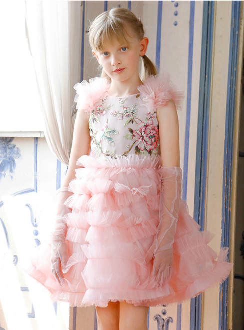 In Stock:Ship in 48 Hours Pink Tulle Embrodiery Flower Girl Dress 2020