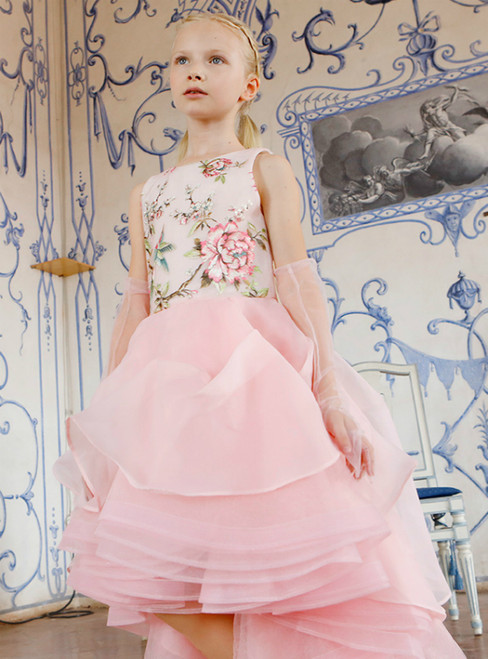 In Stock:Ship in 48 Hours Pink Hi Lo Embrodiery Flower Girl Dress 2020