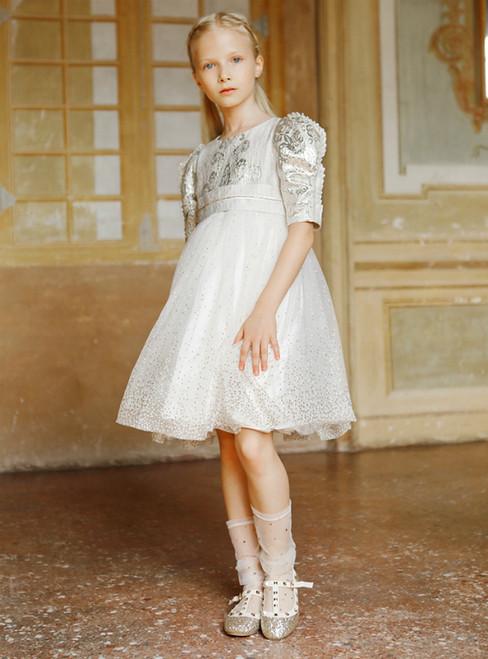 In Stock:Ship in 48 Hours Beige Tulle Sequins Short Sleeve Flower Girl Dress