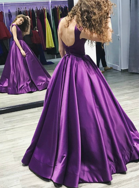Purple Satin Prom Ball Gowns Backless Evening Dresses Long 2017