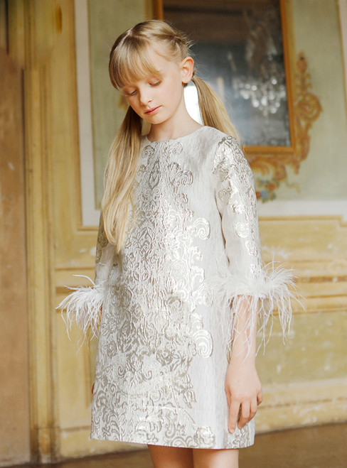 In Stock:Ship in 48 Hours Beige Yellow Half Sleeve Flower Girl Dress With Feather 2020