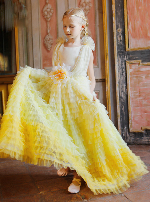 In Stock:Ship in 48 Hours Yellow Tulle Tiers Pearls Flower Girl Dress 2020
