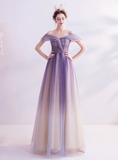 In Stock:Ship in 48 Hours Purple Tulle Off the Shoulder Bling Bling Prom Dress 2020