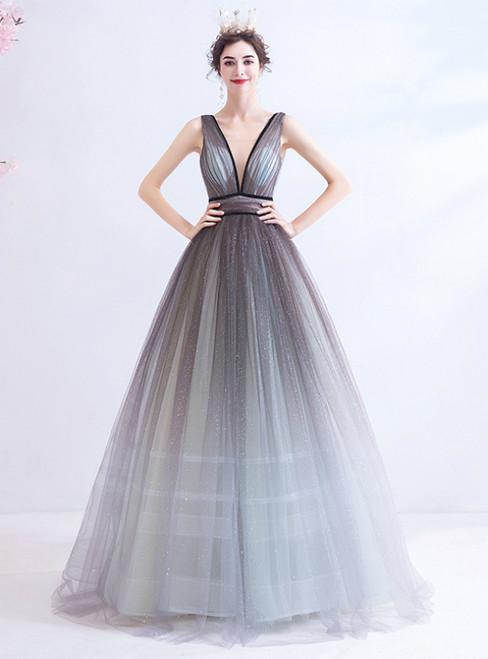 In Stock:Ship in 48 Hours Silver Gray Tulle V-neck Prom Dress 2020
