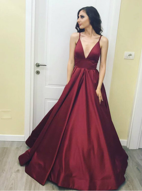 Simple Satin Long Sexy Low V Neck Evening Dress in Burgundy Color