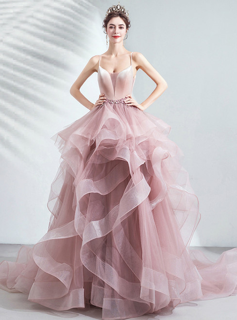 In Stock:Ship in 48 Hours A-Line Pink Tulle Spaghetti Straps Beading Prom Dress 2020