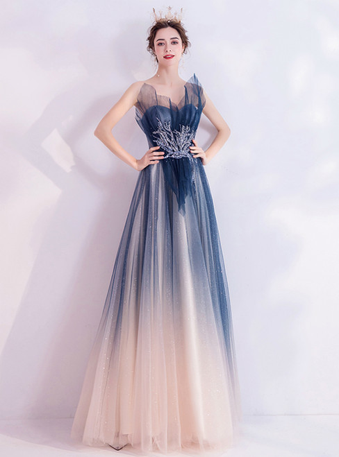 In Stock:Ship in 48 Hours Blue Tulle Strapless Beading Prom Dress 2020