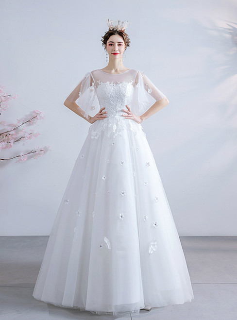 In Stock:Ship in 48 Hours White Tulle Appliques Bateau Wedding Dress 2020