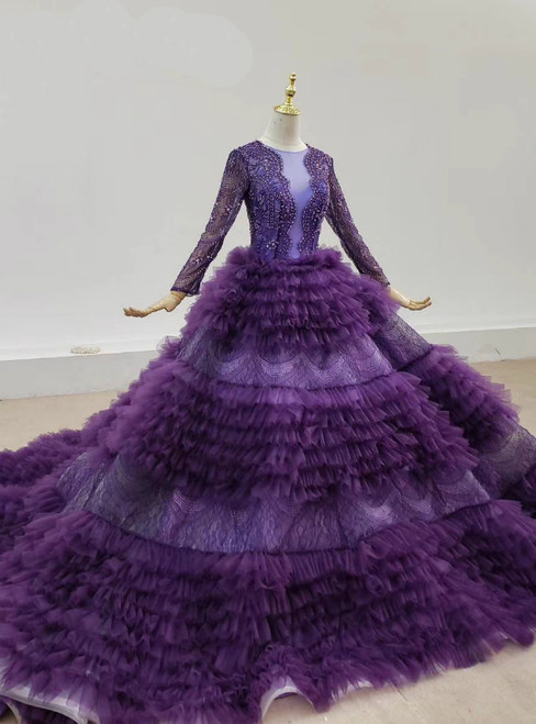 Purple Tulle Tiers Long Sleev See Through V-neck Wedding Dress 2020