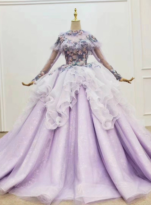 Light Purple Tulle Long Sleeve Appliques Beading Wedding Dress 2020