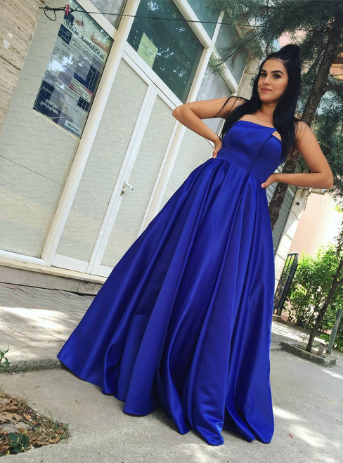 Royal Blue Satin Strapless Puffy Evening Dresses Prom Gowns
