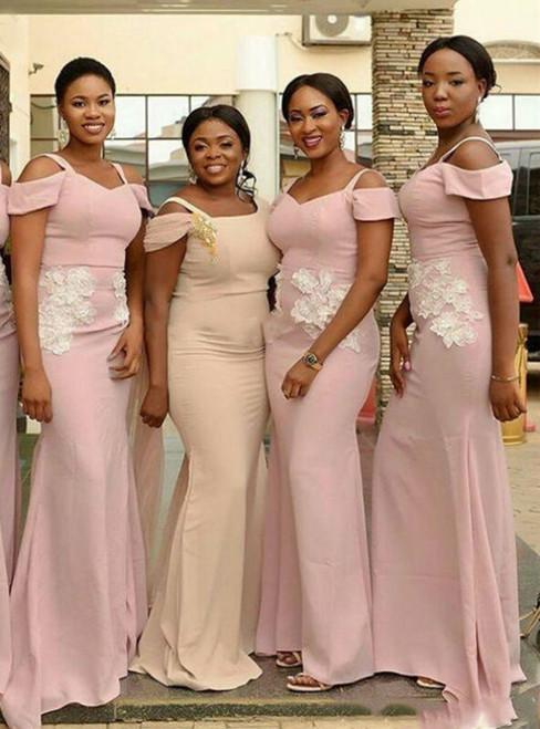 Sexy Pink Mermaid Satin Straps Appliques Bridesmaid Dress 2020