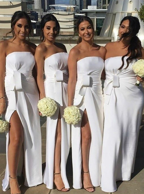 White Mermaid Satin Strapless Pleats Bridesmaid Dresses With Side Split 2020