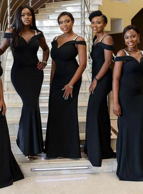 Black Mermaid Straps Off the Shoulder Bridesmaid Dress 2020