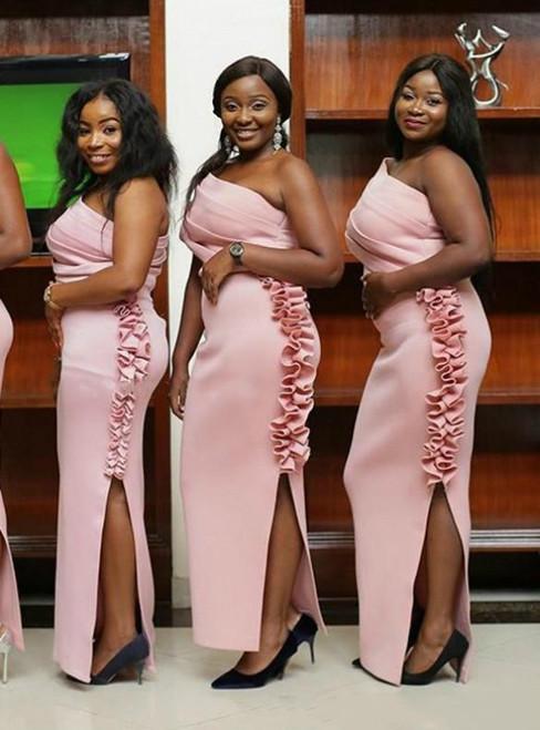 Pink Mermaid Satin One Shoulder Ruffles Bridesmaid Dress With Side Split 2020