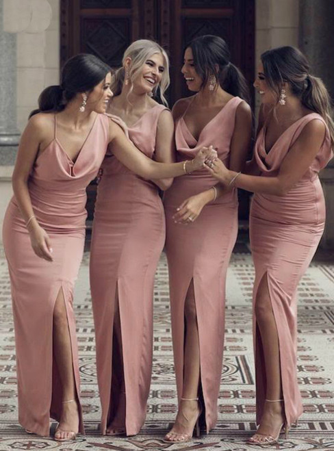 Pink Mermaid Satin Asymmetry Neck Bridesmaid Dress With Side Split 2020